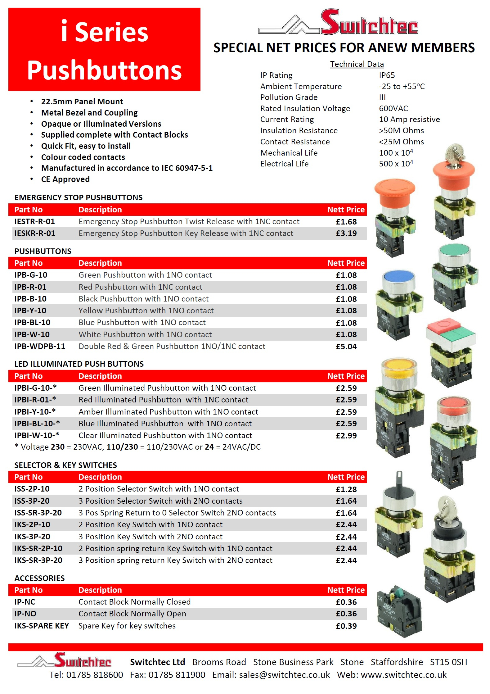 i-Series pushbutton datasheet