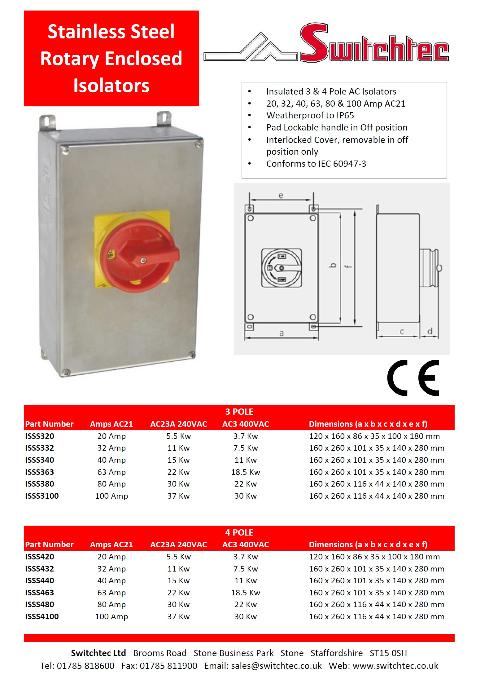 ISSS Stainless Steel Rotary enclosed Isolators