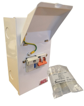 ENCLOSED SINGLE PHASE FUSED SW + 2P 100A MAIN SWITCH + FUSES