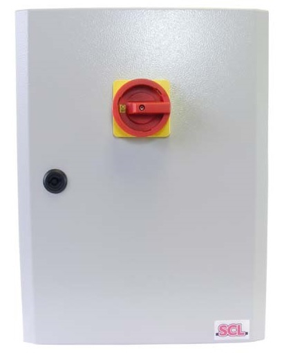 63A 4 POLE ON-OFF FUSED SWITCH IP65 METAL ENCLOSED INC FUSES