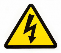 VOLTAGE WARNING LABEL YELLOW 23X21mm TRIANGLE ON SEMI GLOSS